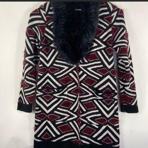Nwt Black Rivet Black red sweater coat cape fur